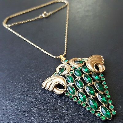 Antique Art Nouveau Deco Necklace Emerald Green Marquise Flower Grape Leaf O149