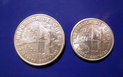 1952 20 and 40 centavos silver coins collectable Carribian XF