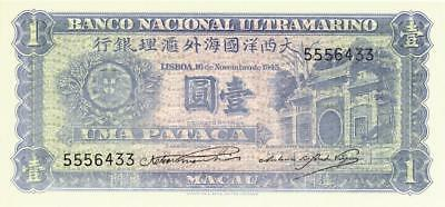 Macau 1 Pataca Currency Banknote 1945  CU