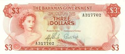 Bahamas $3 Dollars Currency Banknote 1965  AU/UNC
