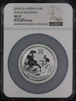 2016P Australia $8 Silver 5 oz Year of the Monkey NGC MS-70 Low Pop! -171380