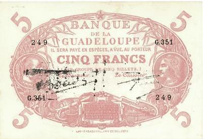 Guadeloupe 5 Francs Currency Banknote L. 1901