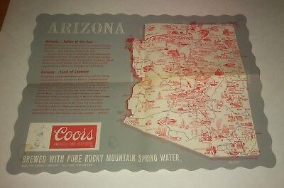 Vintage Ephemera State Of Arizona Coors Beer Paper Bar top Place-mat~MSee!