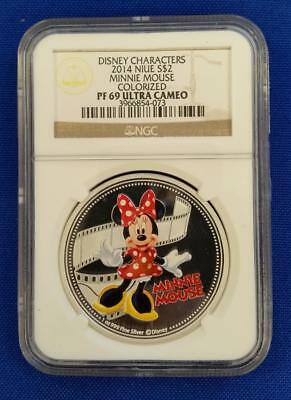 "2014-Niue 1oz .999 SILVER ""M.MOUSE"" Colorised Disney Characters $2 Coin NGC PF69"