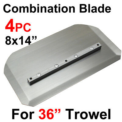 "4pc 8x14"" Trowel Comb Combination Steel Blade, For 36"" Power Concrete Machine"