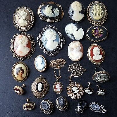 Vintage Cameo Jewelry Lot Victorian Carved Shell Obsidian CORO 1928 Elegant OO15