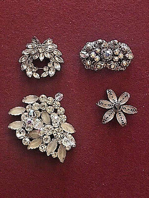 Vintage Lot of 4 Beautiful Brooches, Weiss, Kramer, Sterling, & made in Germany
