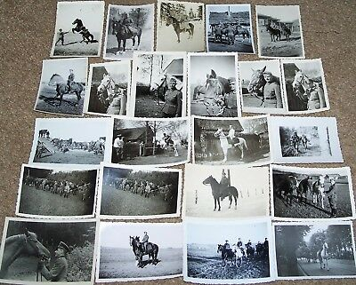 Lot Of 23 Original Ww2 German Photos: Soldiers & Officers With Horses