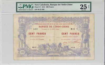 New Caledonia 100 Francs Currency Banknote 1914  PMG 25 VF
