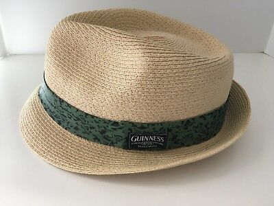 Official Guinness Paper Straw Fedora Cap Hat Very Nice XL