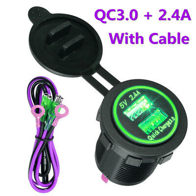Dual USB Charger Socket Power Outlet Quick Charge 2.4A Port for Car Boat Marine