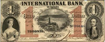 "Canada $1 International Bank ""Blue SN"" Currency Banknote 1858 AU/UNC"