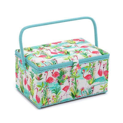 Hobby Gift 'Flamingo' Extra Large Rectangle Sewing Box 20 x 39 x 26cm (d/w/h)