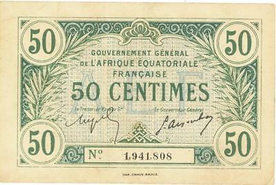 French Equatorial Africa 50 Centimes Currency Banknote 1917  VF/XF
