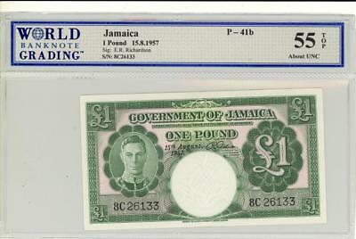 Jamaica 1 Pound Currency Banknote 1957  AU