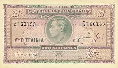 Cyprus 2 Shillings Currency Banknote 1942  UNC