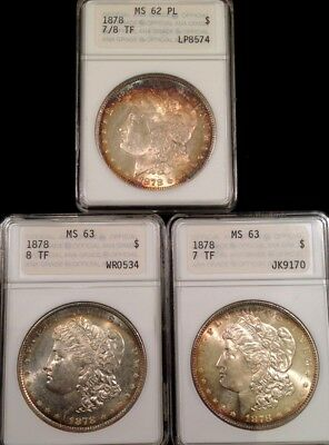 Lot of 3 1878 Morgan Silver Dollars MS 63 MS 62PL ~OLD ANA HOLDER~ Color Toning