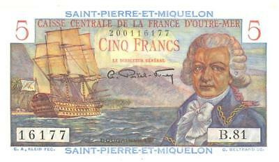 St Pierre & Miquelon 5 Francs Currency Banknote 1950 CU