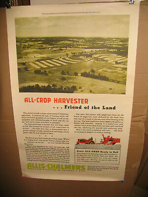 1940s Poster Allis Chalmers Tractor Advertising All Crop Farm Harvester Vintage