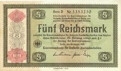 Germany Judaica 5 Reichsmark Banknote Holocaust Related 1934  XF