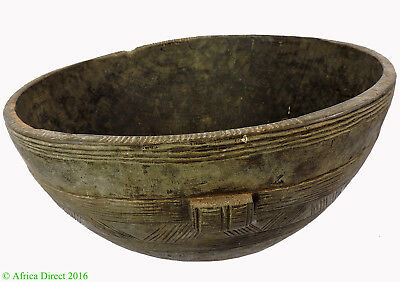 Hausa Wood Bowl Nigeria Engraved Brown African Art SALE WAS $145.00