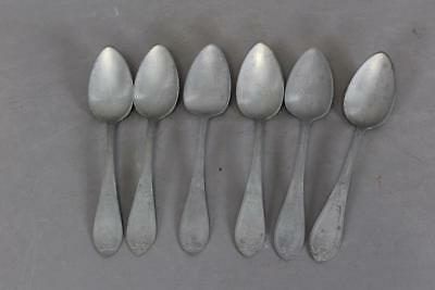 A Nice Matched Set Of Six (6) Decorated 19Th C Pewter Soup Spoons Best Surface