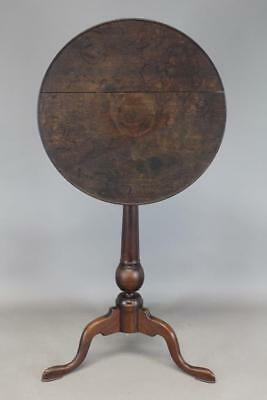 A Great 18Th C Pa Qa Tilt Top Bird Cage Candlestand Dish Top In Original Surface