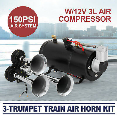 Train Air Horn Kit W/12V 150PSI Air Compressor Complete System 3L Tank Durable