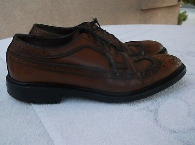 Vtg 1960s Wingtip Brogue Shoes w/ Metal Horseshoe Heel Taps Sz 9.5 Brown Leather