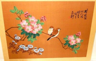 Chinese Two Brown Birds On Pink Flowers Original Watercolor Silk Painting Signed