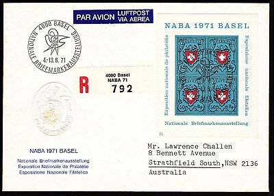1971 Switzerland NABA Exhibition MS on registered cover to Australia