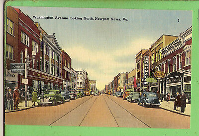 Usa  Postcard -  Washington Avenue Looking North, Newport News  Va