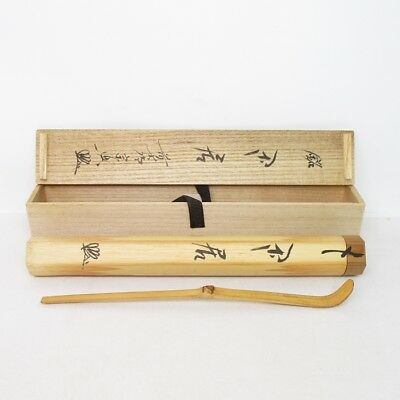 D111: Japanese bamboo tea spoon CHASHAKU with famous monk's appraised box.