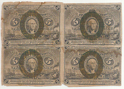 Rare Us 1863 Five Cents Fractional Currency Notes BLOCK OF 4