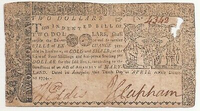Old Us 1774 Maryland Two Dollars Colonial Currency Note