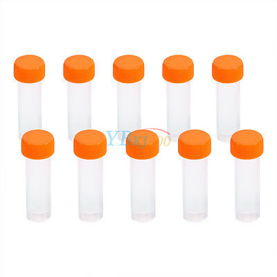 10PCS 5ml Plastic Flat Marked Test Tubes Vial Screw Seal Cap Pack Container