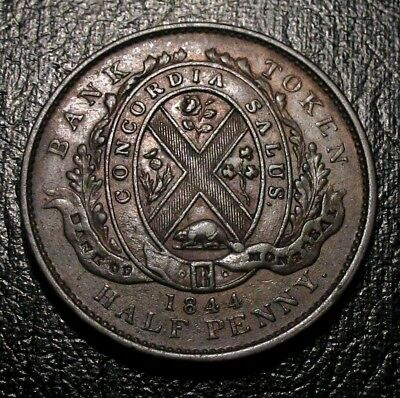 1844 Canada Half Penny Token Bank Of Montreal Front View Choice Beauty