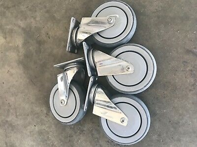 Stainless steel casters 5 inch with ball bearing rubber wheels