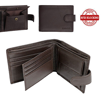 RFID BLOCKING Mens Mans Leather Wallet 6 Credit Card Coin Pocket Wallets Gift