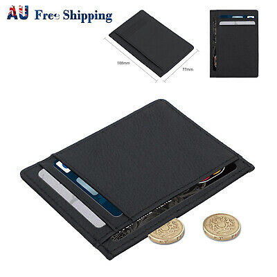 RFID Safe Mens High Quality Soft Black Leather Wallet With & Zip Coin Pocket