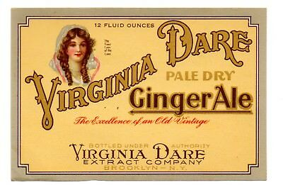 1920s VIRGINIA DARE EXTRACT CO, BROOKLYN NEW YORK VIRGINIA DARE GINGER ALE LABEL