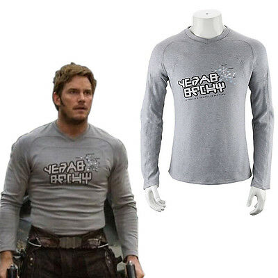 New Movie Guardians Of The Galaxy Star-Lord Costume T-Shirt Men Long Sleeve Tops