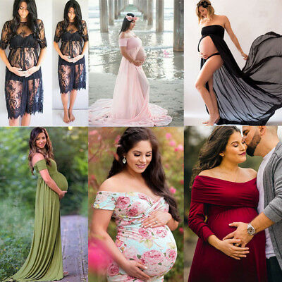 USASTOCK Floral Pregnant Women Dress Maternity Gown Photography Prop Dress Lace