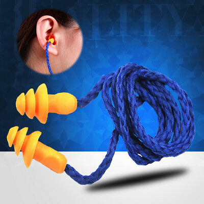 5pcs Soft Silicone Corded Ear Plugs Reusable Hearing Protection Earplugs