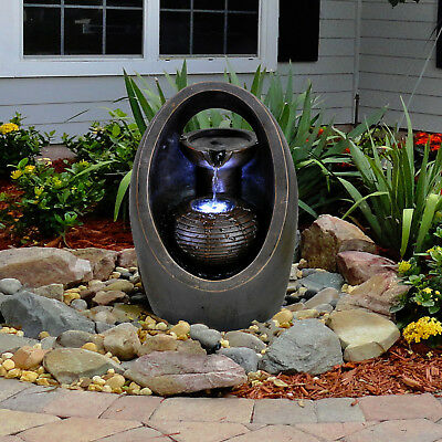 Oval Indoor Outdoor Polyresin Water Fountain Feature LED Lights Garden Statue