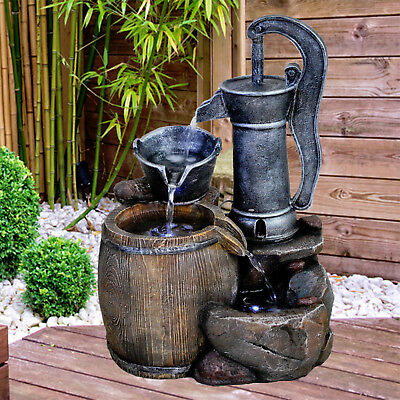 Pump Indoor Outdoor Polyresin Water Fountain LED Lights Garden Statues Decor