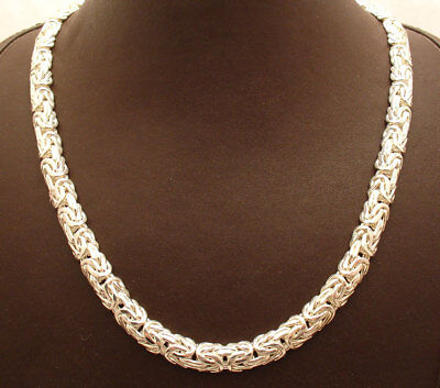 """18"""" Shiny Domed Triangular Byzantine Necklace Chain Real 925 Sterling Silver"""