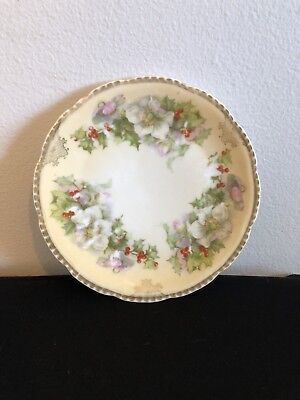 Prussia B Royal Rudolstadt Holly Saucer, Antique Saucer, Antique Small Plate