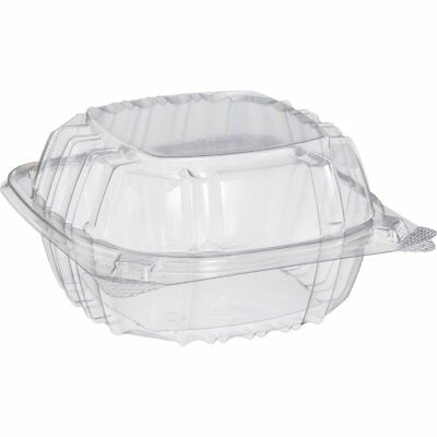 Small Clear Plastic Hinged Food Container 6x6 for Sandwich Salad Party Favor of