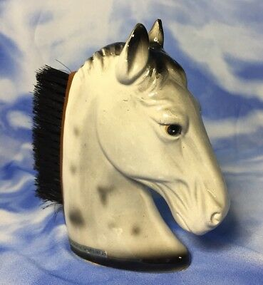Beautiful Vintage Creative Imports Gray Horse Head Brush Figurine 1965 GVC